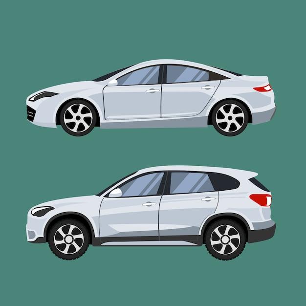 Set van voertuigen suv en sedan in zijaanzicht. Premium Vector