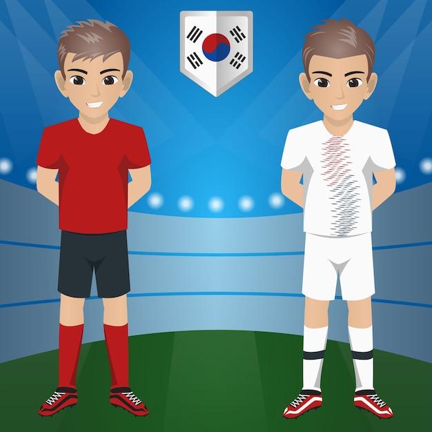 Set van voetbal / voetbal supporter / fans van zuid korea national team Premium Vector