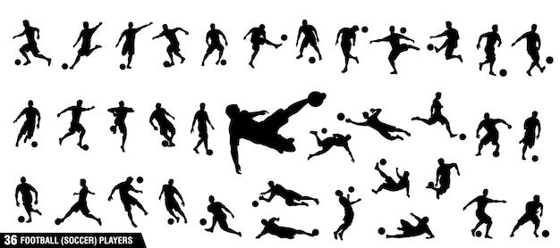 Set van voetbal, voetballers Premium Vector