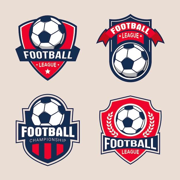 Set van voetbal voetbaltoernooi badge logo sjablonen Premium Vector
