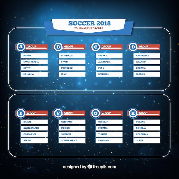 Set van voetbal wereldkampioenschap groepen in vlakke stijl Gratis Vector