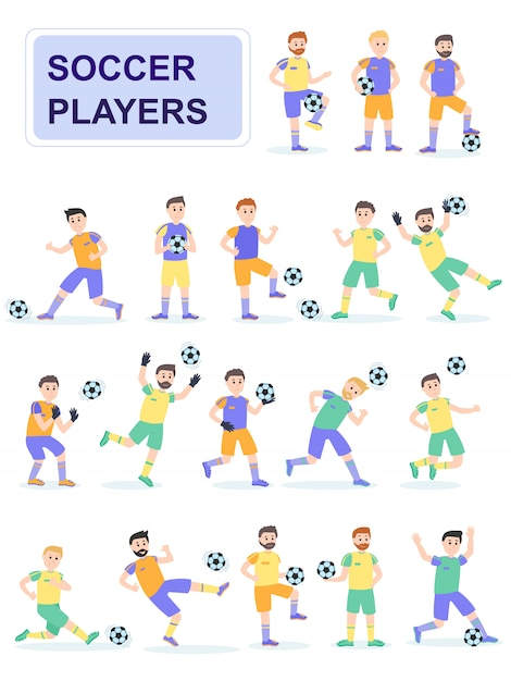 Set van voetbalspeler met verschillende vormen. Premium Vector