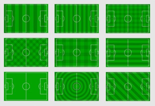 Set van voetbalvelden met verschillende lijnen Premium Vector