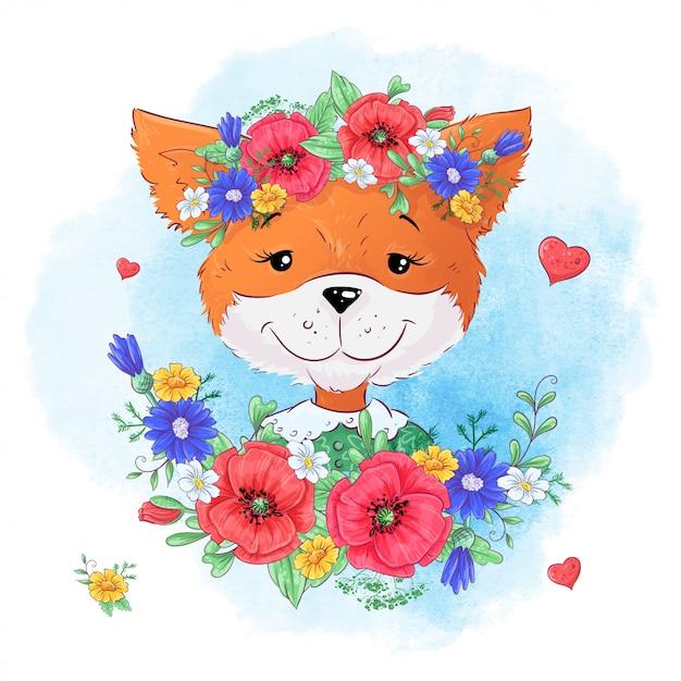 Set van vos bloemen. hand tekening illustratie Premium Vector