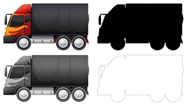 Set van vrachtwagen voertuig Gratis Vector