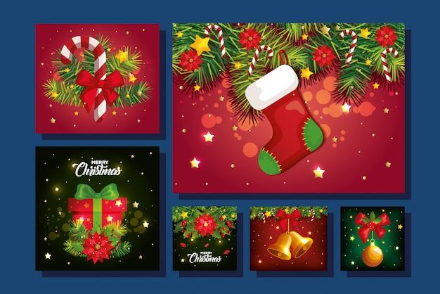 Set van vrolijke kerst achtergrond met decoratie Gratis Vector