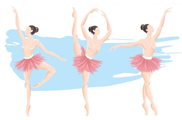 Set van vrouw ballerina vector illustratie Premium Vector