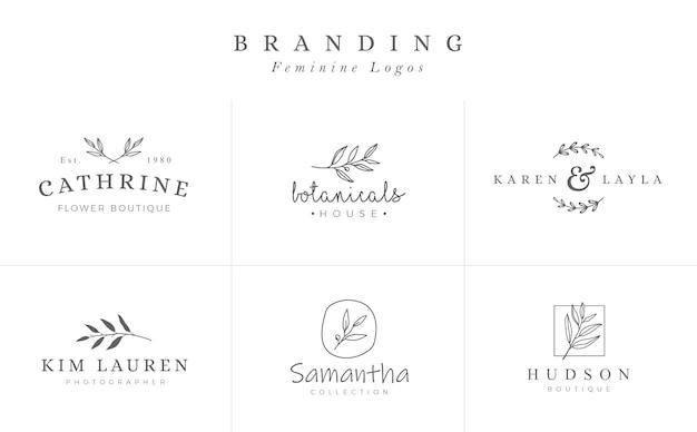Set van vrouwelijke botanische vector tekenen of logo sjablonen Premium Vector