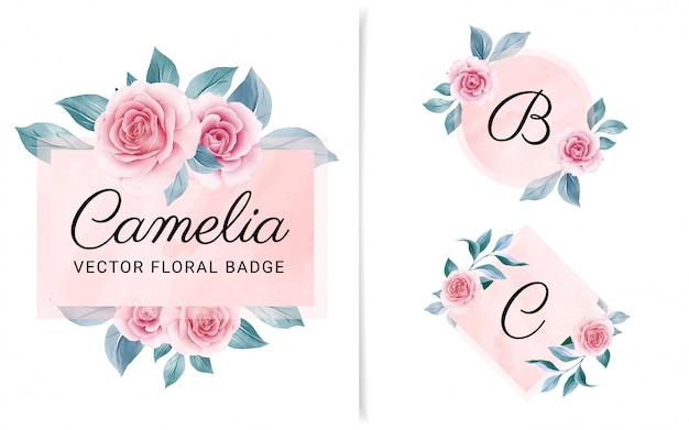 Set van vrouwelijke geometrische badge met perzik aquarel achtergrond en bloemen Premium Vector