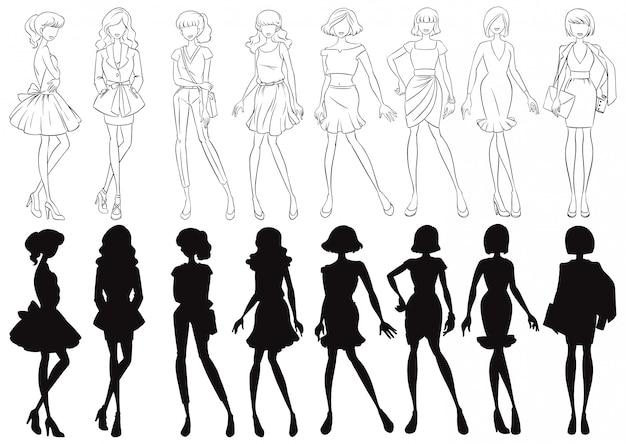 Set van vrouwelijke schets en silhouet Gratis Vector