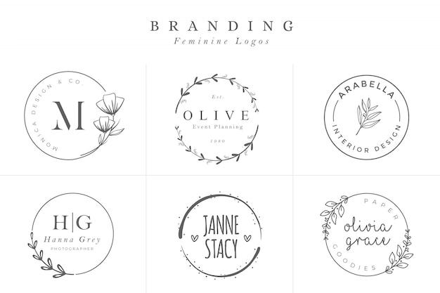 Set van vrouwelijke vectortekens of logo sjablonen Premium Vector