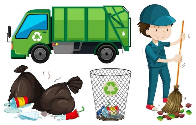 Set van vuilnis truck en janitor illustratie Gratis Vector