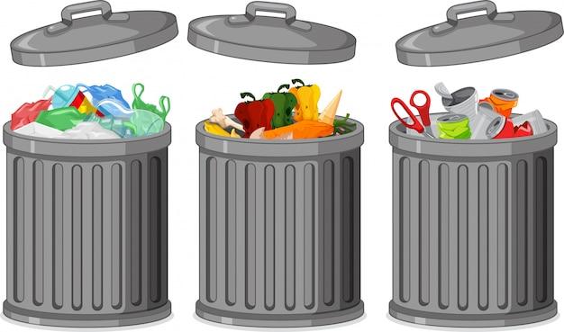 Set van vuilnisbak Gratis Vector