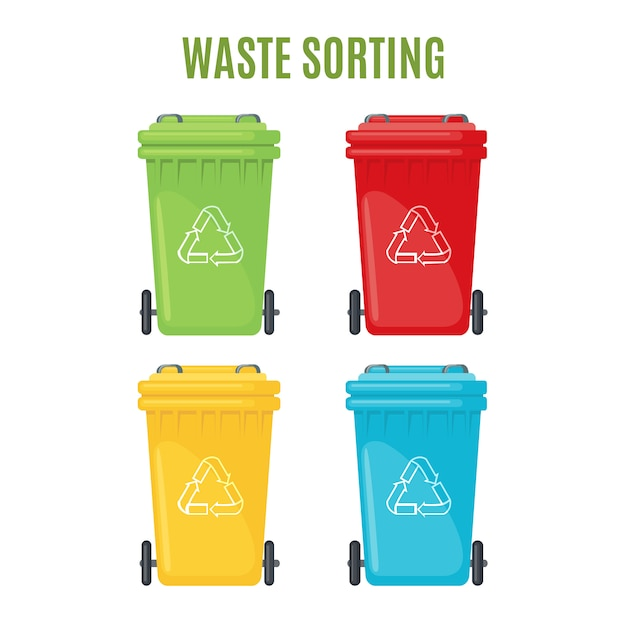 Set van vuilnisbakken voor afzonderlijke vuilnispictogrammen. Premium Vector