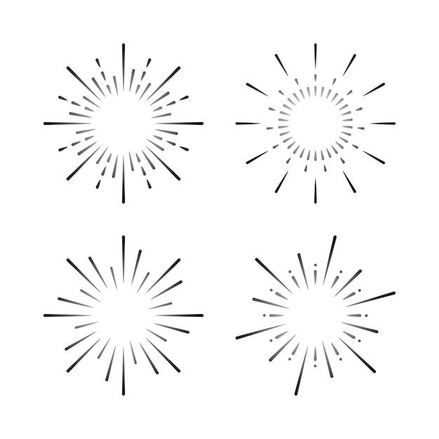 Set van vuurwerk explosie vectoren Gratis Vector