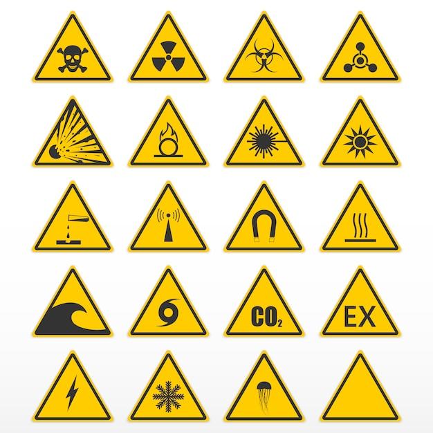 Set van waarschuwingssignalen Premium Vector