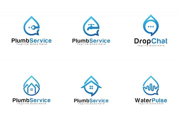 Set van waterdruppel logo's Premium Vector