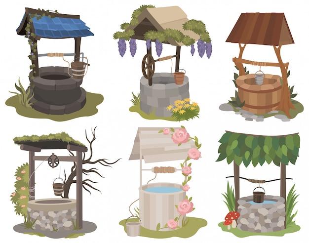Set van waterputten. verzameling van verschillende schattige gestileerde putten met bloem, stenen en houten. Premium Vector