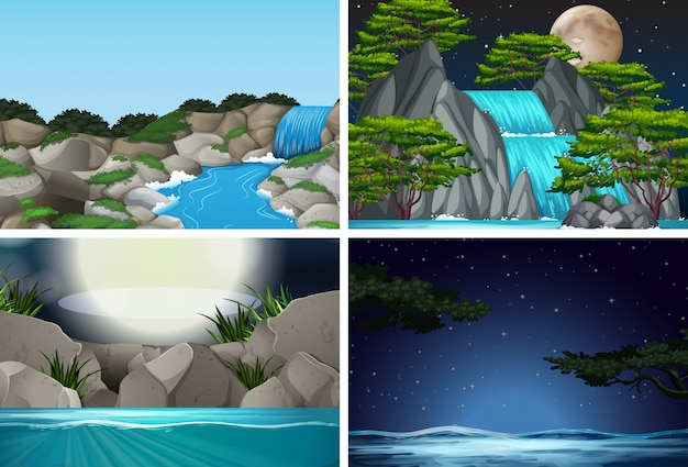 Set van waterval in de natuur achtergrond Premium Vector