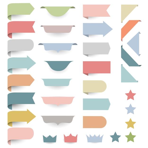 Set van web designelementen - hoeken, banners, linten, sterren, labels in pastel retro kleuren Premium Vector