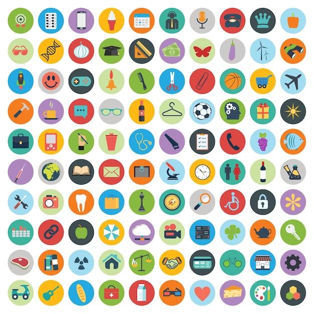 Set van web en technologie-ontwikkeling pictogrammen Gratis Vector