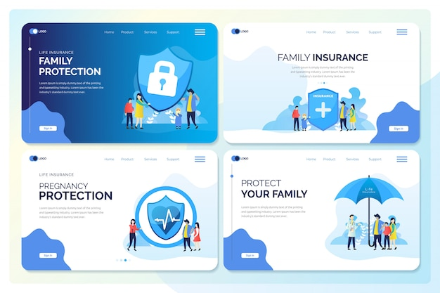 Set van webbanner voor familie verzekering illustraties Premium Vector