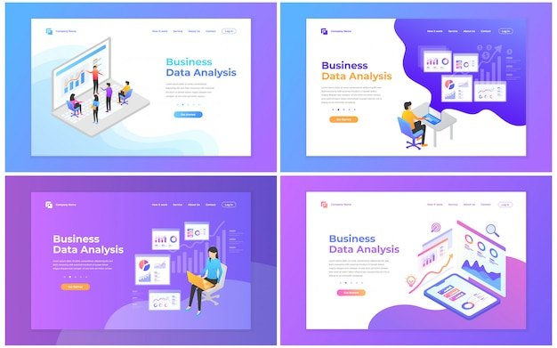 Set van webpagina-ontwerpsjablonen voor data-analyse, digitale marketing, teamwork, bedrijfsstrategie en analyse. Premium Vector