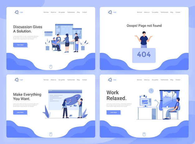 Set van webpagina sjablonen van zakelijke apps, onderzoek, discussie en ontwikkeling, 404 pagina Premium Vector