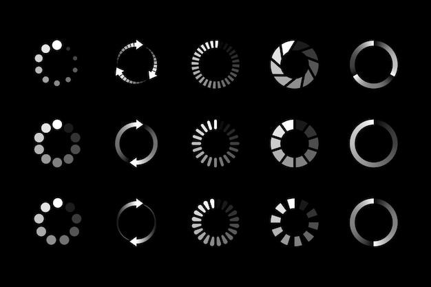Set van website laden pictogram geïsoleerd op zwart Premium Vector