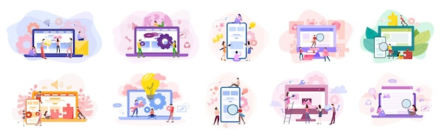Set van website ontwikkeling banner. webpagina programmeren en responsieve interface op computer maken. illustratie in cartoon-stijl Premium Vector