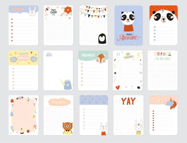 Set van weekplanners en to do-lijstjes met schattige dieren illustraties en trendy letters. sjabloon voor agenda, planners, checklists en ander briefpapier voor kinderen. geïsoleerd. Premium Vector