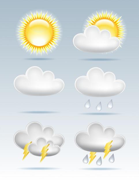 Set van weerpictogrammen Premium Vector