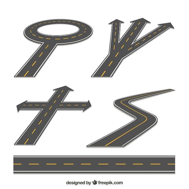 Set van wegen Gratis Vector