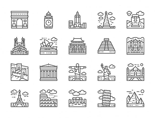Set van wereld landmark line icons. egypte, italië, verenigd koninkrijk, frankrijk en meer. Premium Vector