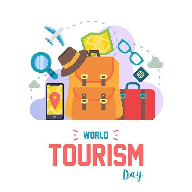 Set van wereld toerisme dag pictogram kleurrijke vector Premium Vector
