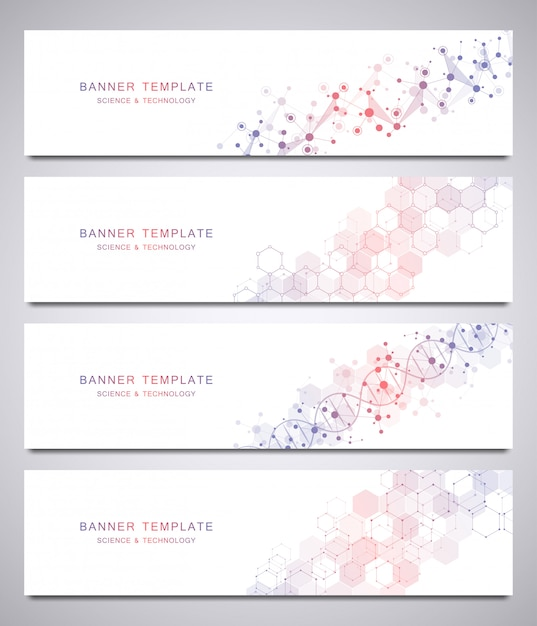 Set van wetenschappelijke en technologische vector sjabloon voor spandoek met moleculaire structuren. Premium Vector
