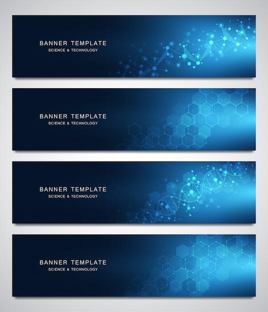 Set van wetenschappelijke en technologische vectorbanners Premium Vector