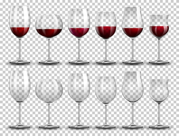 Set van wijn op verschillende glazen Gratis Vector