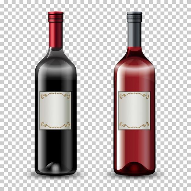 Set van wijnflessen Gratis Vector