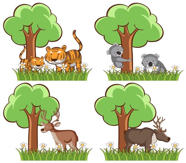 Set van wilde dieren in het park met vijver en boom Gratis Vector