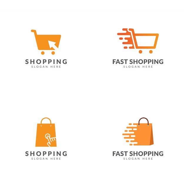 Set van winkelen logo sjabloonontwerp vector Premium Vector