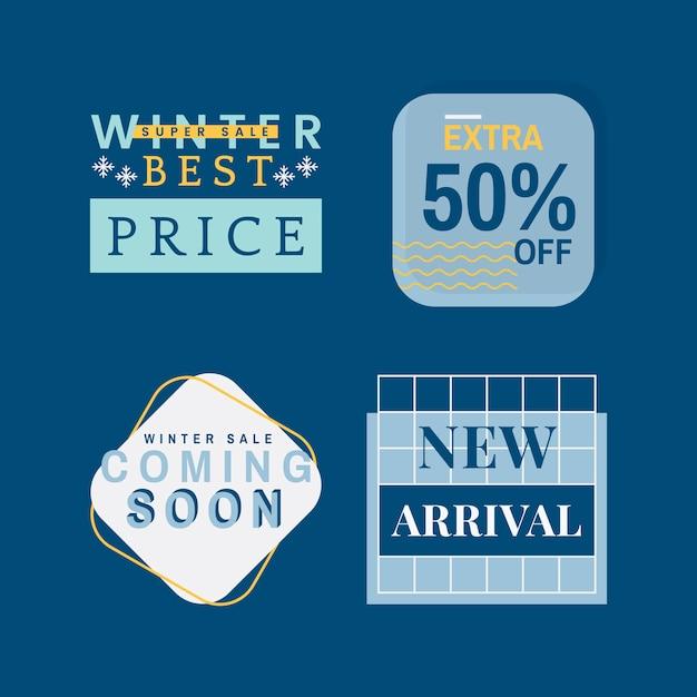 Set van winter verkoop badge vectoren Gratis Vector