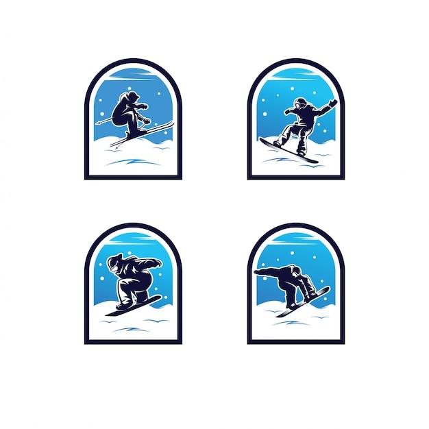 Set van wintersport logo. snowboarden logo Premium Vector