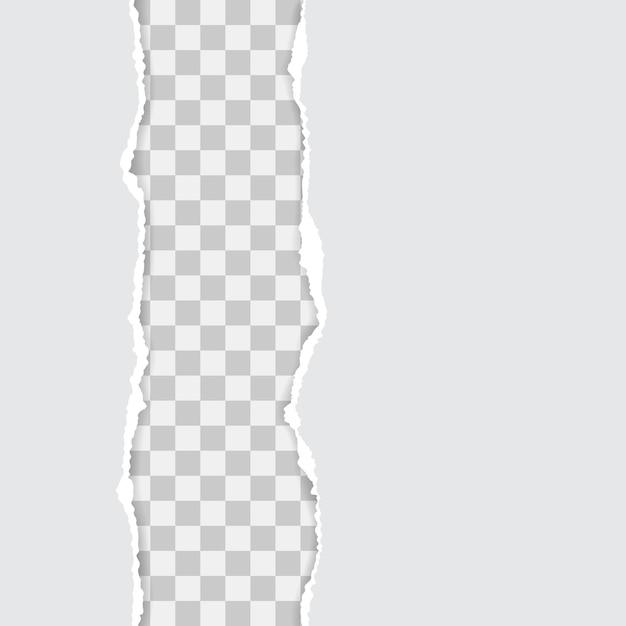 Set van wit gescheurd papier met schaduwen Premium Vector