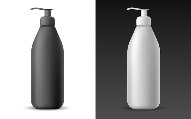 Set van witte en zwarte realistische lege buislotion Premium Vector