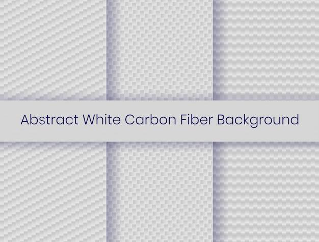 Set van witte koolstofvezel achtergrond Premium Vector