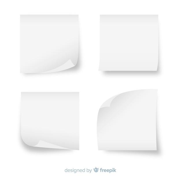 Set van witte plaknotities in realistische stijl Gratis Vector