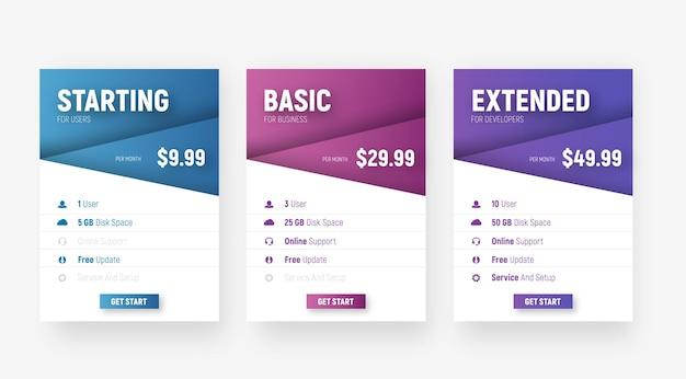 Set van witte webprijstabellen met diagonale elementen met een verloop voor de naam van het tarief en waardevol. Premium Vector