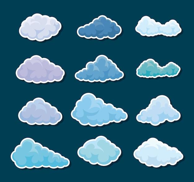 Set van wolken pictogrammen Premium Vector