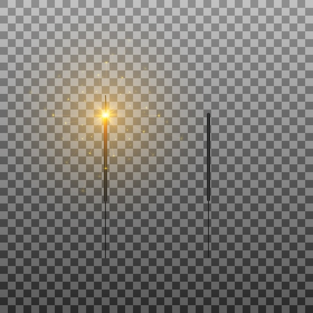 Set van wonderkaarsen brandende lichten vonken vuurwerk Premium Vector